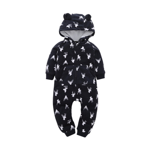 Romper with Hoodie Warm Cotton for Boys & Girls Thick Long Sleeve - 3 Styles