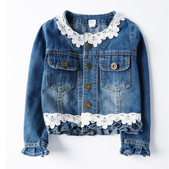 Denim Jacket with Lace for Girls Long Sleeve