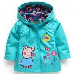 Coat with Hoodie Waterproof for Girls & Boys Cartoon Long Sleeve - 5 Colors