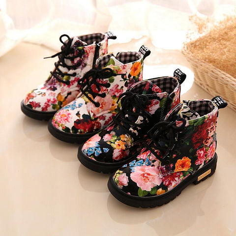 Boots PU Leather for Girls Flowers - 2 Styles
