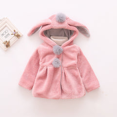 Coat with Hoodie for Girls Plush Thickening Warm Rabbit Ears Long Sleeve - 2 Colors