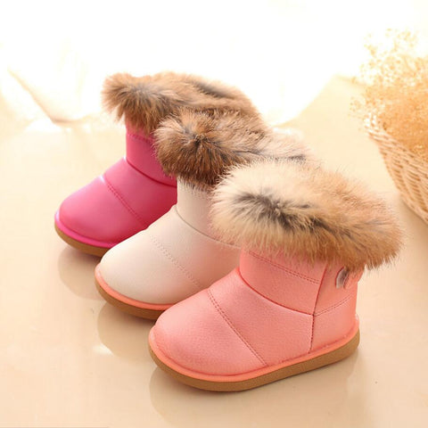 Boots for Girls Snow Warm PU Leather Flat