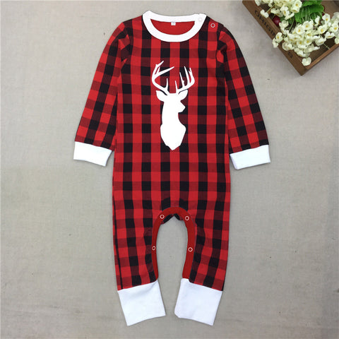 Romper Christmas Reindeer Plaid Pajamas for Girls & Boys Cotton Long Sleeve