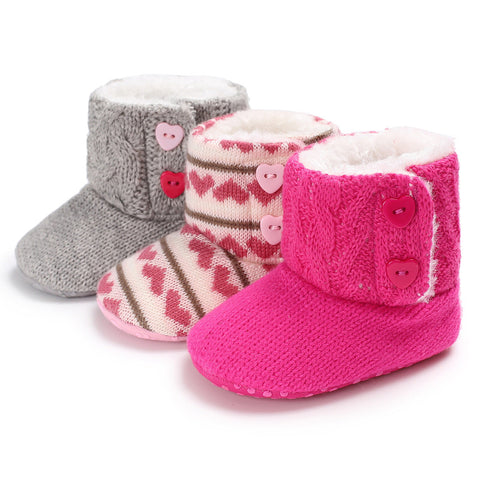 First Walkers Boots for Girls Fleece & Cotton Fur Warm Soft Sole