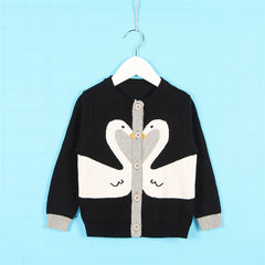 Cardigan Sweater 100% Cotton Knitted Swan for Girls Long Sleeve