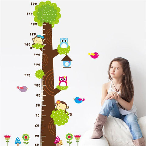 Wall Stickers Height Measure Animals for Kids Rooms