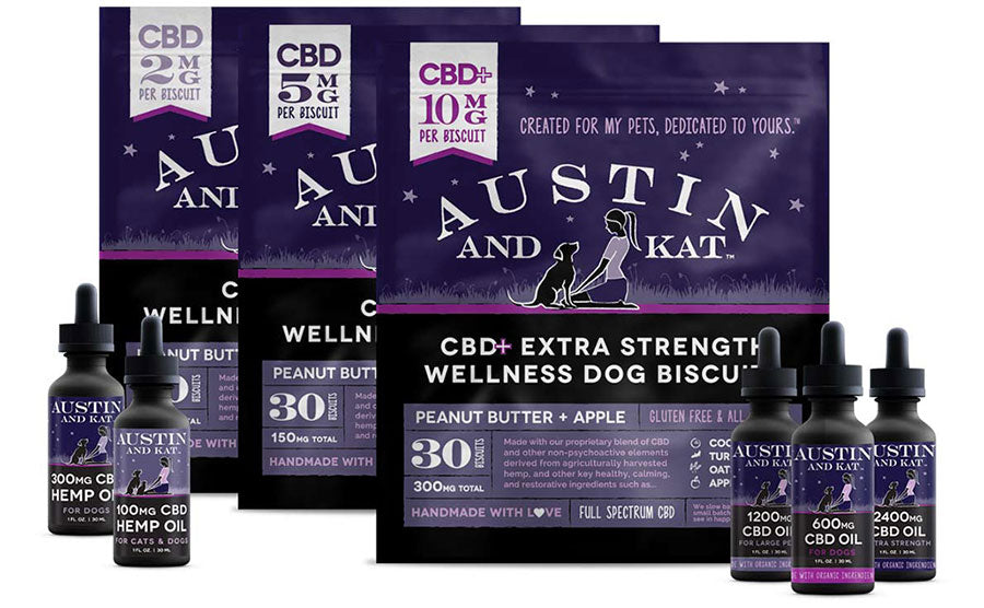 Austin and Kat CBD infused full product line wellness dog biscuits and oils