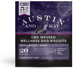 package of Austin and Kat CBD infused wellness dog biscuits 5mg