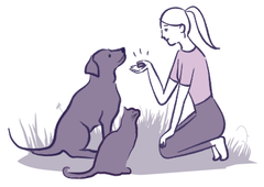 small drawing of girl feeding a treat to a dog and cat