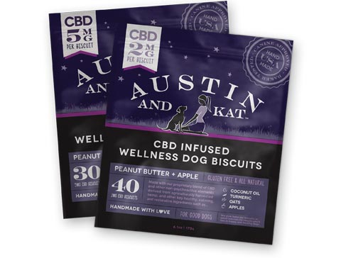2mg and 5mg packages stacked of Austin and Kat CBD infused wellness dog biscuits