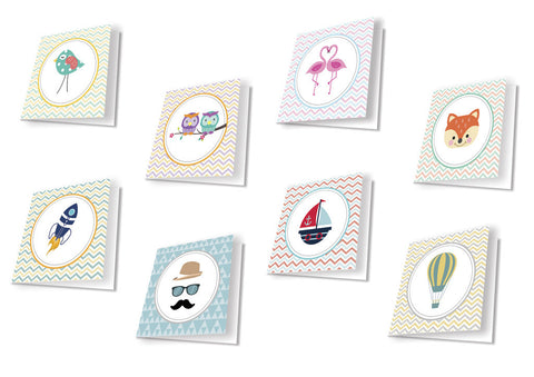 Gift tag - Assorted - Colourful and fun - Set of 8