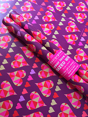 Wrapping Paper - purple hearts-Stationery-PropShop24.com