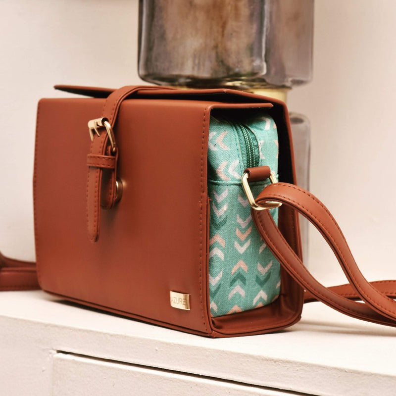 Tan Box Sling Bag-WOMEN-PropShop24.com