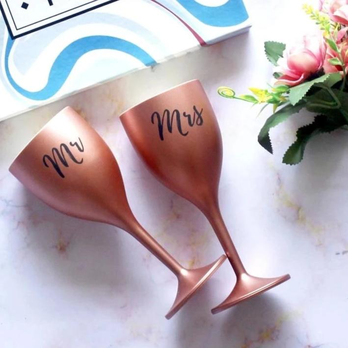 Rose Gold Wine Glasses - Mr And Mrs-BAR + PARTY-PropShop24.com