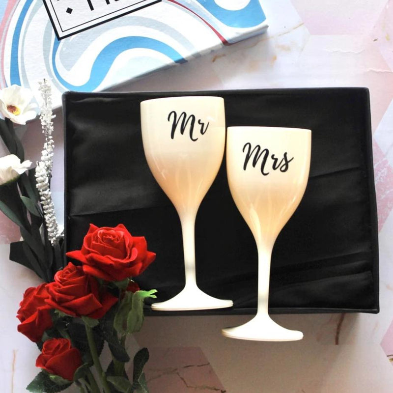 Mr And Mrs Wine Glasses - White - Set Of 2-BAR + PARTY-PropShop24.com