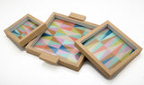 Blue Geometric Tray Set Of 3-HOME-PropShop24.com