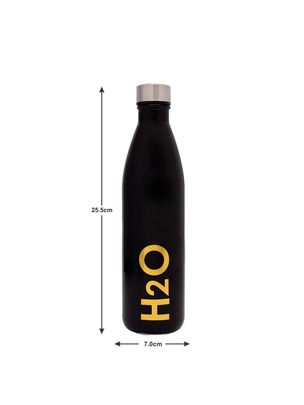 Glass Bottle With Steel Cap - H2O - Set Of 4-DINING + KITCHEN-PropShop24.com