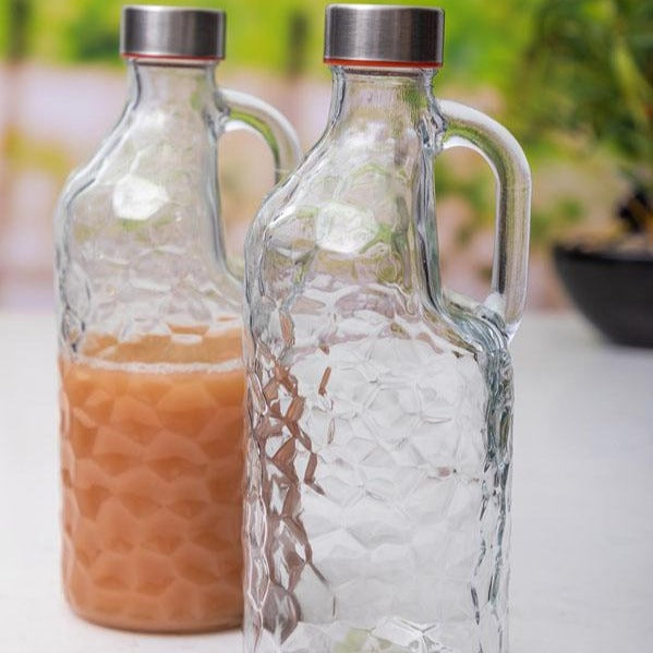 Glass Bottle - Transparent - Textured - 1000ml-DINING + KITCHEN-PropShop24.com
