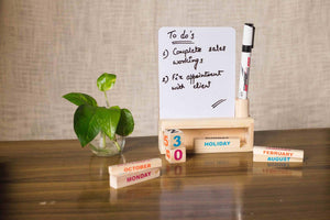 Wooden Desk Calendar With A White Board-DESK ACCESSORIES-PropShop24.com