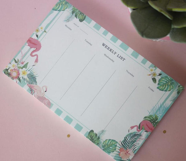 Flamingo Weekly List Pad-STATIONERY-PropShop24.com
