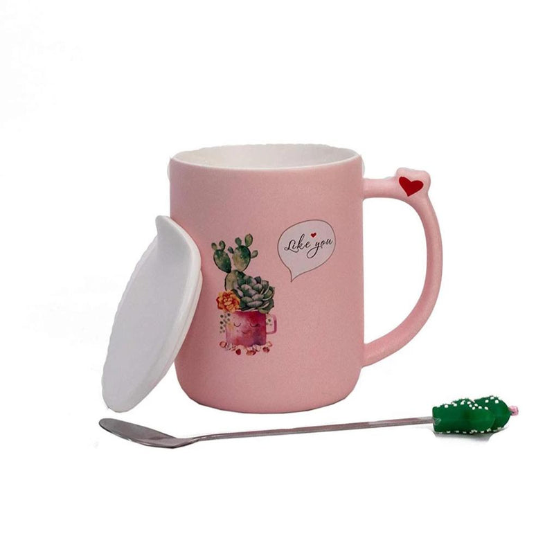 Coffee Mug - Cactus With Lid And Spoon-DINING + KITCHEN-PropShop24.com