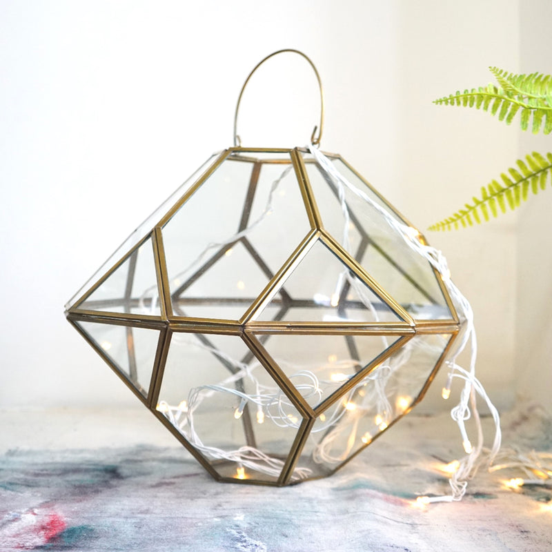 Large Terrarium Style Metal And Glass Hanging Candle Holder - Gold Finish-CANDLES + AROMA-PropShop24.com