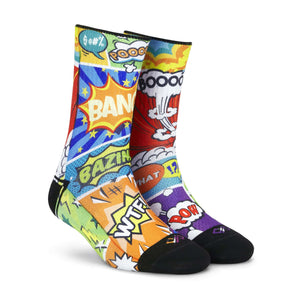 Socks - Comic Crash Men & Women Crew Length (Small) (Women: India/Uk Shoe: 4 - 7) (Men: India/Uk Shoe Size: 6 - 7)-MEN-PropShop24.com