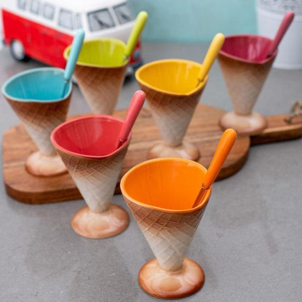 Multi-Coloured Dessert Bowls With Spoons - Set Of 6-DINING + KITCHEN-PropShop24.com