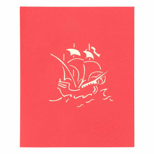 Pop Up 3D Greeting Card - Boat - Red-GREETING CARDS-PropShop24.com