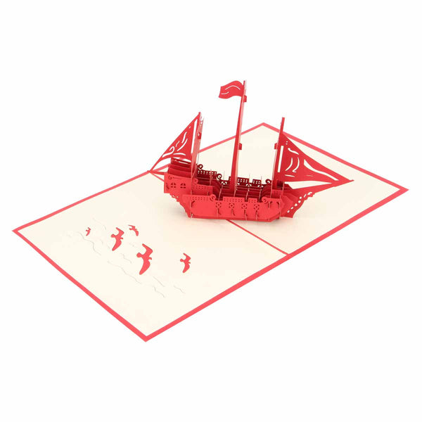 Pop Up 3D Greeting Card - Boat - Red-Stationery-PropShop24.com