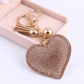 Bag Charm - Studded Heart - Beige-FASHION-PropShop24.com