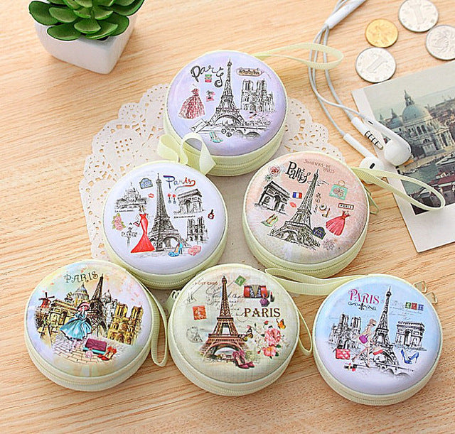 Paris Earphones Coins Hard Zipper Travel Case - Assorted-WOMEN-PropShop24.com