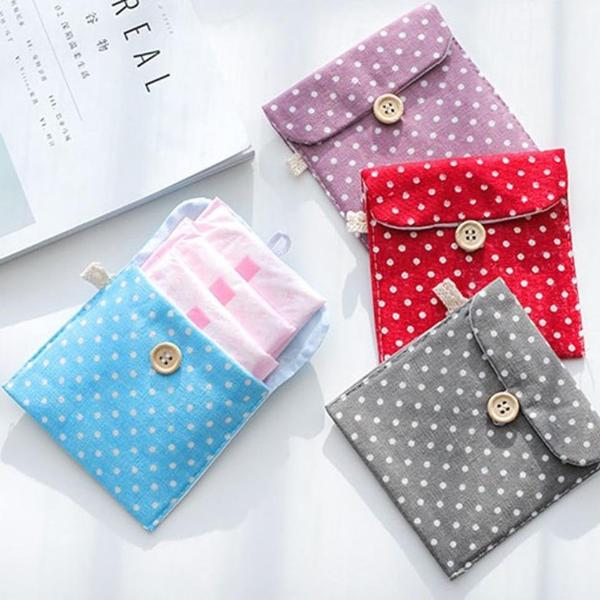 Sanitary Napkin Pouch - Polka Dots - Square - Sold Individually-WOMEN-PropShop24.com
