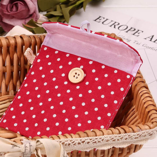 Sanitary Napkin Pad Pouch - Polka Dots - Square-PERSONAL-PropShop24.com