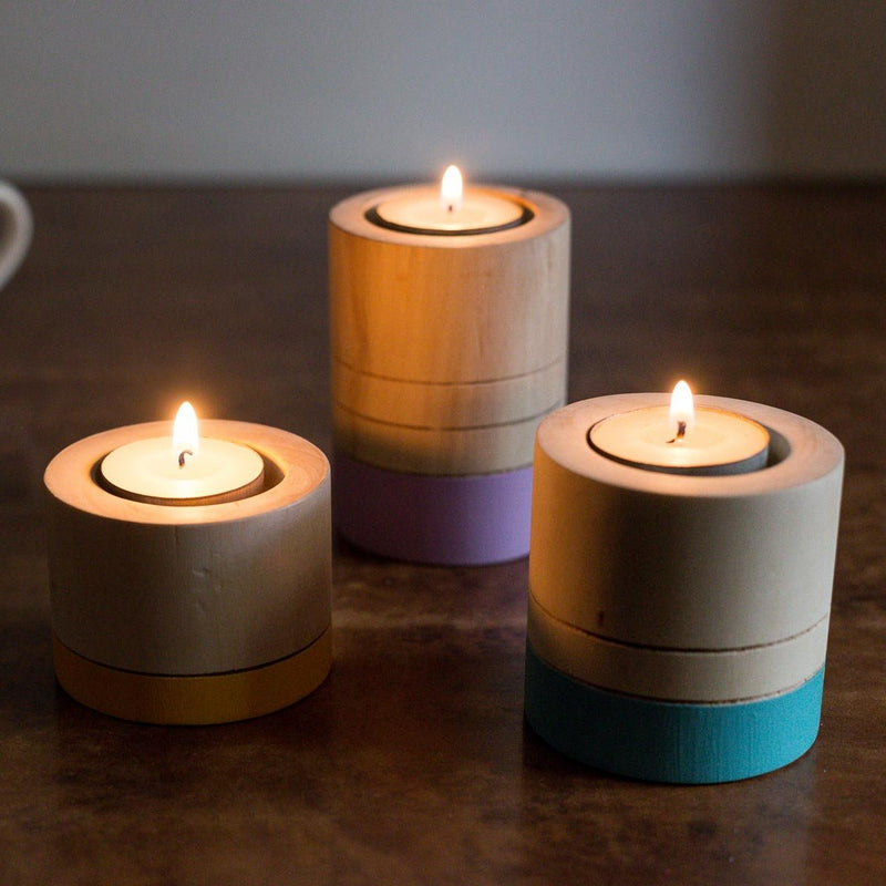 Handpainted Round Tea Lights - Set Of 3-CANDLES + AROMA-PropShop24.com