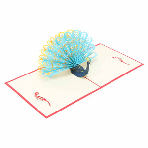 Pop Up 3D Greeting Card - Peacock - Red-GREETING CARDS-PropShop24.com