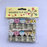 Cats Wooden Photo Paper Clips (Set Of 10) - White-STATIONERY-PropShop24.com