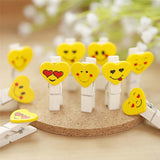 Emojis/ Emoticons Wooden Photo Paper Clips (Set Of 10) - Yellow-STATIONERY-PropShop24.com