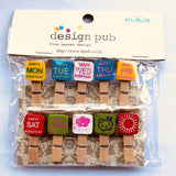 Days Of The Week Wooden Photo Paper Clips (Set Of 10) - Multicolor-STATIONERY-PropShop24.com