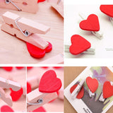Wooden Photo Paper Clips - Red Heart with String - Set of 10-STATIONERY-PropShop24.com