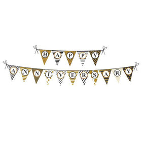 Bunting - Happy Anniversary - Gold Glitter and Black-HOME-PropShop24.com