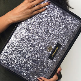 Laptop Sleeve - Personalised - Grey Glitter with Crown. C.O.D NOT AVAILABLE-Gadgets-PropShop24.com