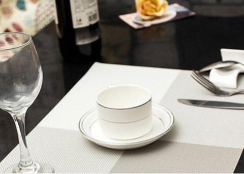 ANTISLIP TABLE MATS - CHECKS PATTERN - GREY - SET OF 4-Home-PropShop24.com