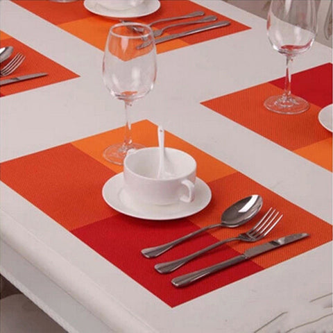 ANTISLIP TABLE MATS - CHECKS PATTERN - ORANGE - SET OF 4-Home-PropShop24.com