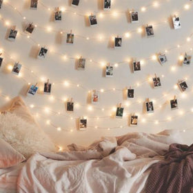 Copper Quirky Photo Clip String Lights with Wooden Clips -30 Bulb 8m Warm White-HOME-PropShop24.com