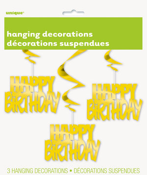 Hanging Decoration - Happy Birthday - Set Of 3-BAR + PARTY-PropShop24.com