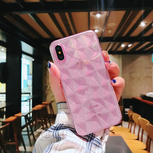Diamond Phone Case - Iphone Xs - Clear Pink-PHONE CASES-PropShop24.com