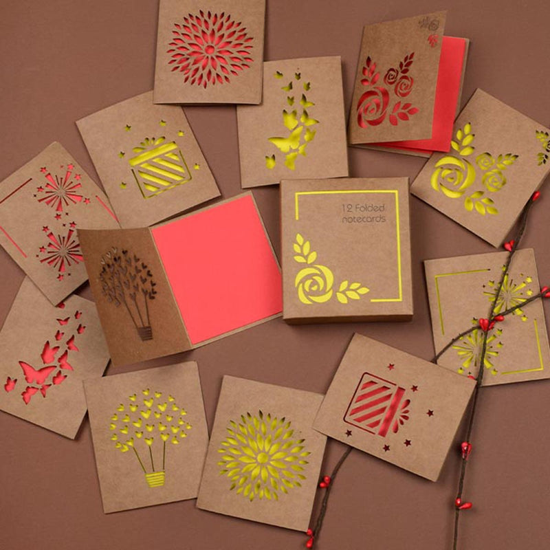 Love And Light - Yellow Lasercut Notecards - Set Of 12-GREETING CARDS-PropShop24.com
