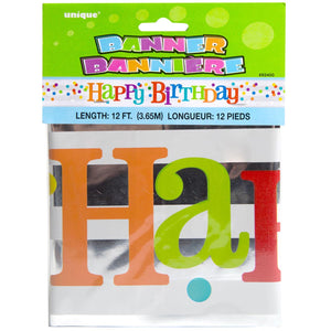 Foil Banner - Happy Birthday - Dotted Rainbow-BAR + PARTY-PropShop24.com