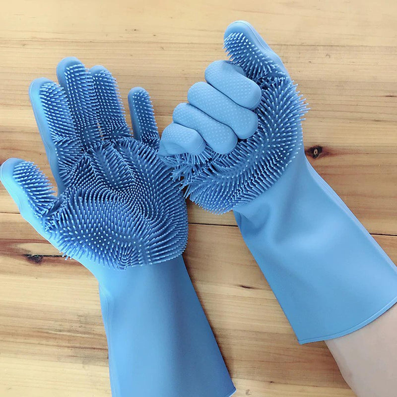 Silicone Rubber Dish Washing Gloves Scrubber Cleaning Sponge-DINING + KITCHEN-PropShop24.com